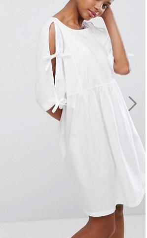 Monki Tie Sleeve Smock Dress