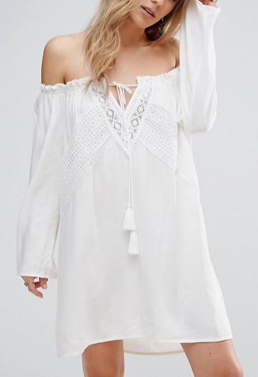 Boohoo Bardot Crochet Shift Dress