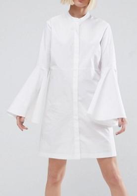 ASOS WHITE Bell Sleeve Mini Shirt Dress