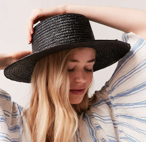 UO Vanessa Straw Boater Hat