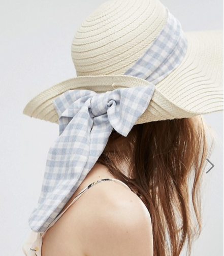 ASOS Floppy Straw Hat With Gingham Band
