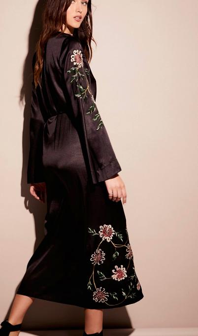 FP Embroidered Wrap Kimono Dress