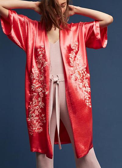 Anthropologie Embroidered Satin Kimono