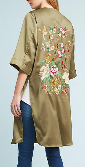 Anthropologie Satin Garden Kimono