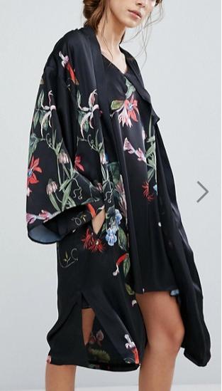Neon Rose Maxi Kimono With Wildflower Print Co-Ord
