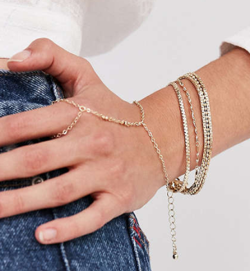 UO Gold Chain Ring To Wrist Bracelet