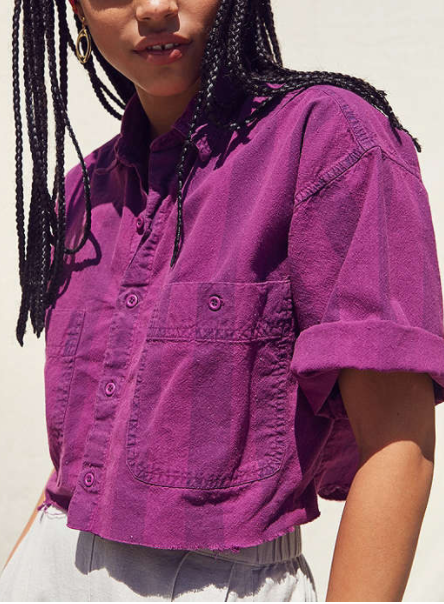 UO Vintage Striped Button-Down Cropped Shirt