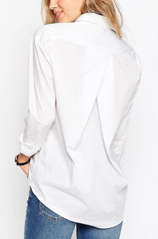 ASOS Slim Boyfriend White Shirt with Pleat Detail Back