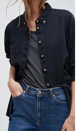 ASOS Denim Shirt in Washed Black