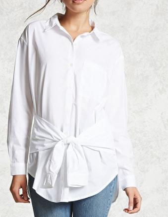 FOREVER 21 Tie-Waist Oversized Shirt