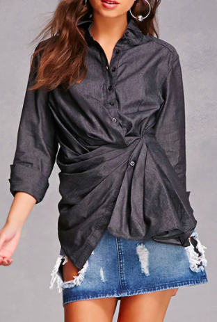 FOREVER 21 Gathered Chambray Top