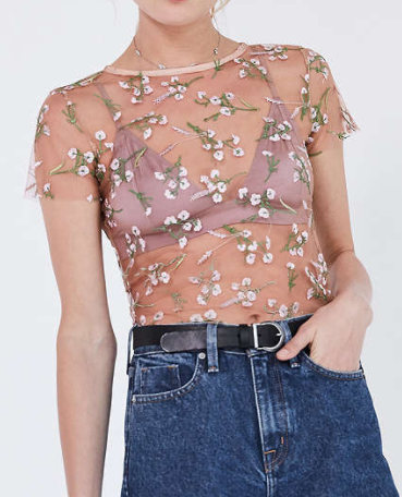 Kimchi Blue Lilac Embroidered Sheer Short Sleeve Tee