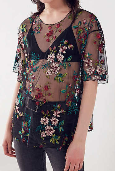 Kimchi Blue Alana Floral Embroidered Sheer Tee