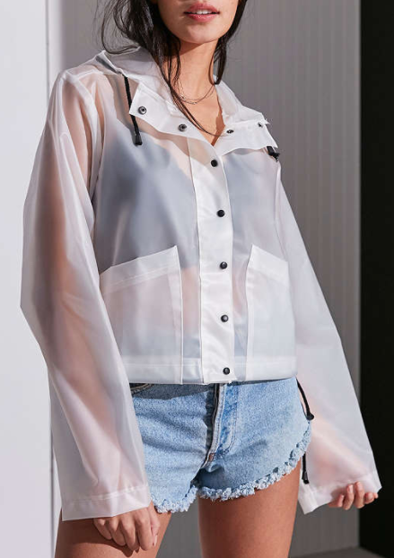 Silence + Noise Bess Clear Cropped Raincoat