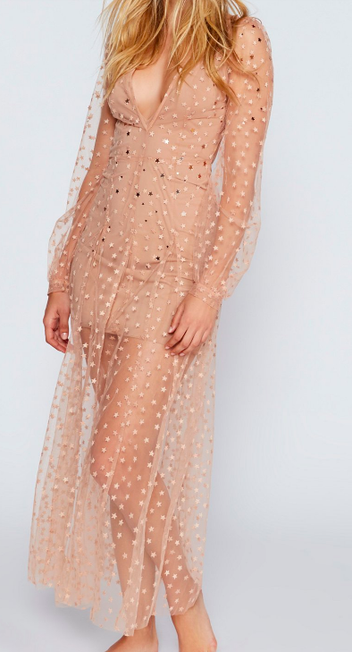 For Love and Lemons All That Glitters Tulle Maxi Dress
