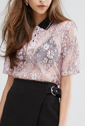 Sister Jane Polo Shirt In Sheer Lace