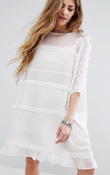 Religion Sheer T-Shirt Dress With Frill Sleeves And Hem
