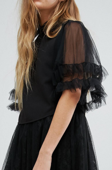 Navy London Ivy Crop Top With Collar And Sheer Sleeves