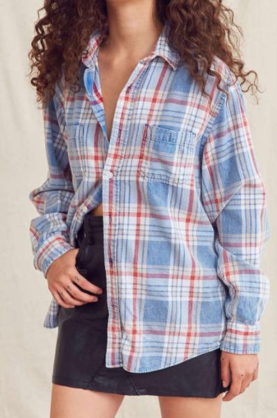 Urban Renewal Recycled Acid Wash Flannel Shirt