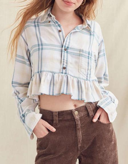 Urban Renewal Recycled Button-Down Peplum Flannel Shirt