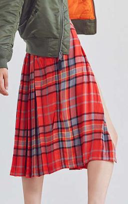BDG Pippa Plaid Kilt Midi Skirt
