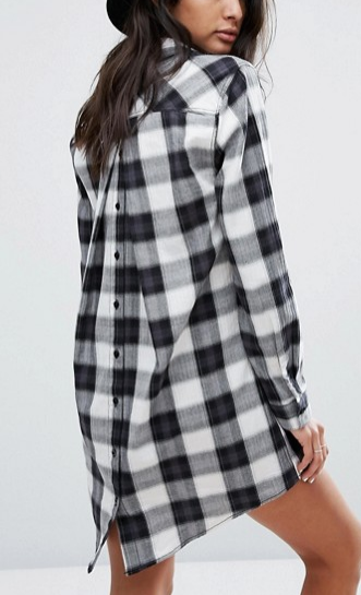 Current Air Check Dress with Button Back Detail