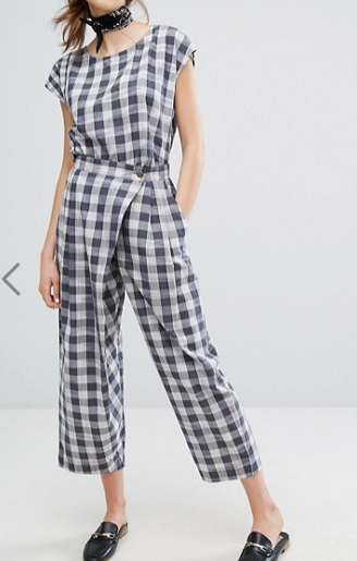 People Tree Hand Woven Wrap Front Pants In Picnic Check Co-Ord