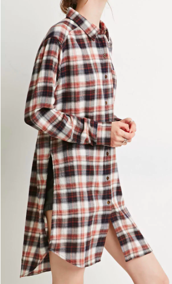 Contemporary High-Slit Plaid Flannel Tunic