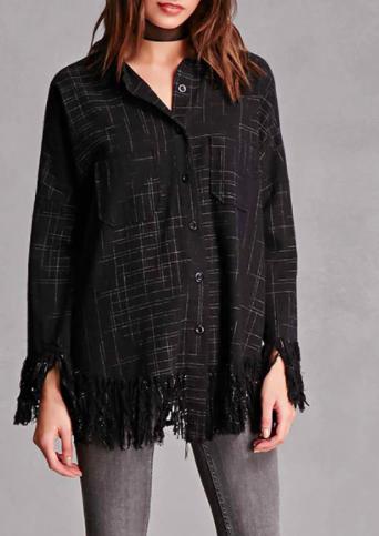 Frayed Plaid Flannel Shirt