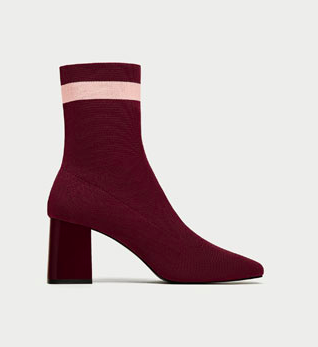 STRIPED HIGH HEEL SOCK-STYLE ANKLE BOOTS