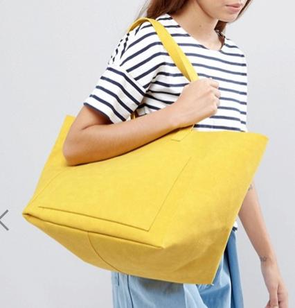 Warehouse Embossed Soft Pocket Tote Bag