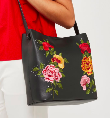 Topshop SAFIRE Floral Embroidered Slouch Tote Bag