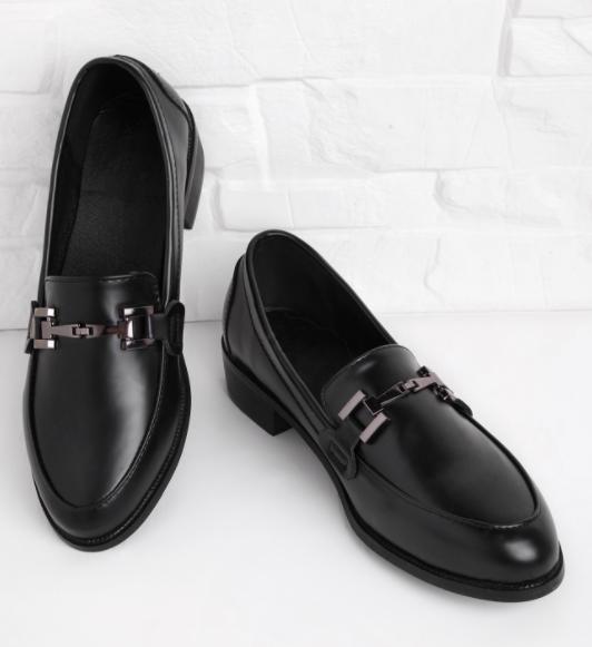 Metal Detail Faux Leather Brogue Shoes
