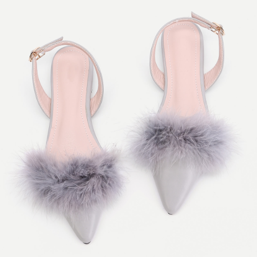 Faux Fur Detail Slingback PU Flats