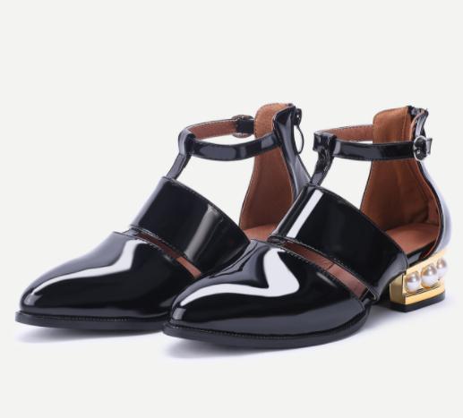 Black Pearl Design Back Zipper Patent Leather Shoes