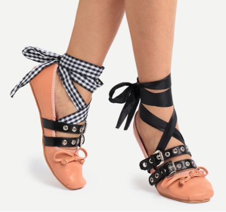 Romwe Almond Toe Bow Decorated Lace-Up Flats