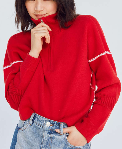 Silence + Noise Double-Knit Half-Zip Pullover Sweater
