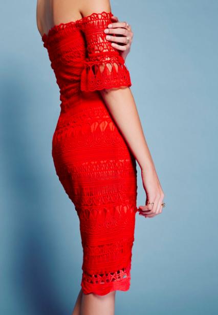 Saylor Red Mariah Midi Dress