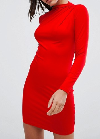 ASOS Mini Asymmetric Rouched Bodycon Dress with High Neck