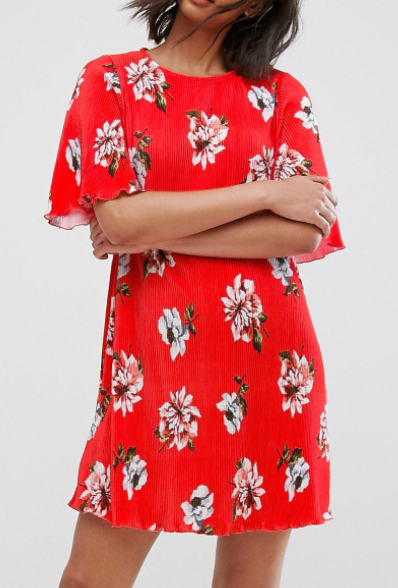 Mango Floral Flute Sleeve Dress