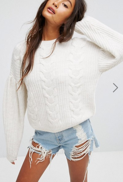ASOS Sweater in Cable With Volume Sleeves