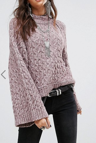 Free People Snow Bird Fluted Sleeve Sweater