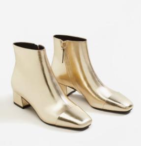 Mango Zipped metallic boots
