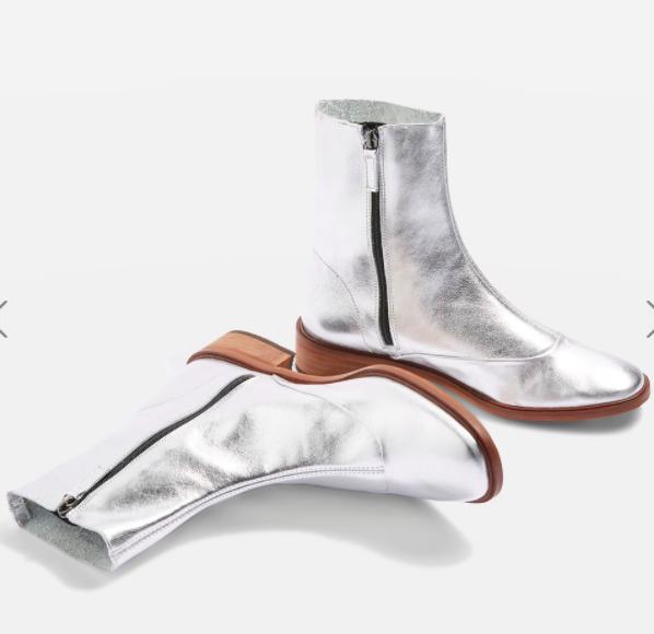 Topshop APRIL Metallic Leather Sock Boots