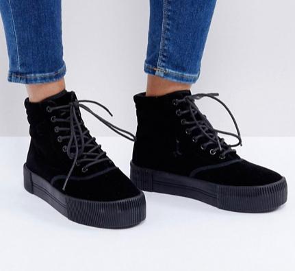 Monki Crushed Velvet Flatform Boot