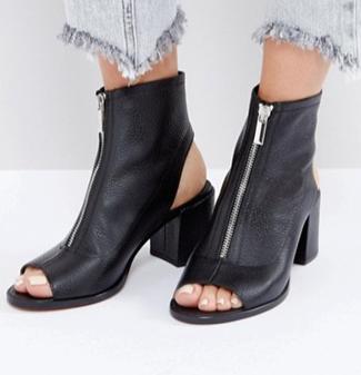 ASOS RASPBERRY Leather Zip Shoe Boots
