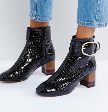 KG by Kurt Geiger Ringo Croc Effect Block Heeled Ankle Boots