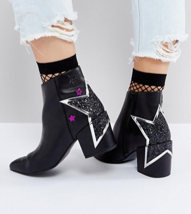 ASOS REALITY Star Ankle Boots