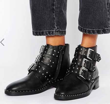 ASOS ASHER Leather Studded Ankle Boots