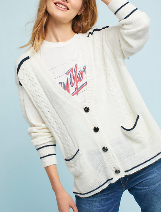 Anthropologie Piped Cable Cardigan
